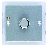Varilight 2 way Single Silver effect Dimmer switch