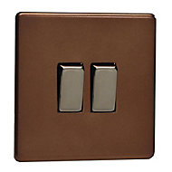 Varilight 10A 2 way Matt mocha Double Light Switch