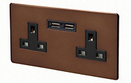 Varilight Mocha Double USB socket, 2 x 2.1A USB