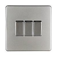 Varilight 10A 2 way Satin silver effect Triple Light Switch