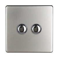 Varilight 6A 2 way Satin silver effect Double Push light Switch