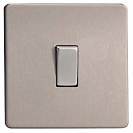 Varilight 10A 2 way Brushed silver effect Single Light Switch
