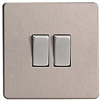 Varilight 10A 2 way Brushed silver effect Double Light Switch