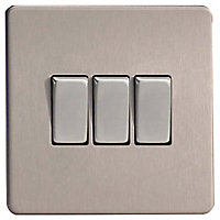 Varilight 10A 2 way Brushed silver effect Triple Light Switch