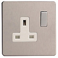 Varilight 13A Stainless steel effect Single Switched Socket
