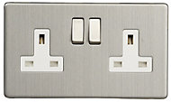 Varilight 13A Stainless steel effect Double Switched Socket