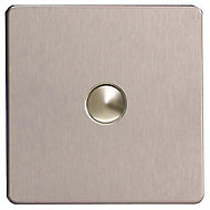 Varilight 6A 2 way Brushed silver effect Single Push light Switch