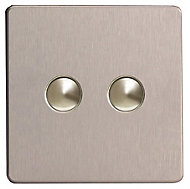 Varilight 6A 2 way Silver effect Double Push light Switch
