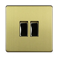 Varilight 10A 2 way Brushed Double Light Switch
