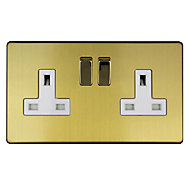 Varilight 13A Double Switched Plug socket