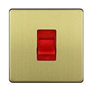 Varilight 45A 1 way Brass effect Single Switch
