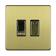 Varilight 13A 1 way Brass effect Single Switch