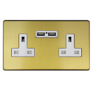 Varilight Brushed Gold effect Double USB socket, 2 x 2.1A USB