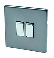 Varilight 10A 2 way Matt grey Double Light Switch