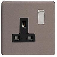 Varilight 13A Grey Single Switched Socket
