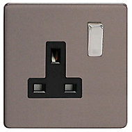 Varilight 13A Grey Single Switched Socket
