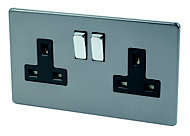 Varilight 13A Grey Double Switched Socket