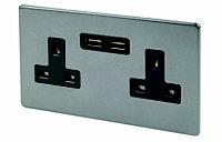 Varilight Grey Double USB socket, 2 x 2.1A USB