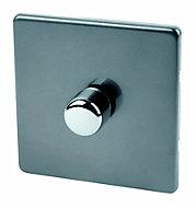 Varilight 2 way Single Slate grey Dimmer switch