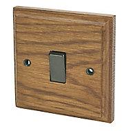 Varilight 10A 2 way Brown Oak effect Single Light Switch