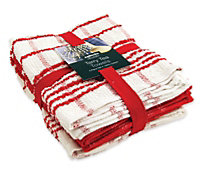 Sabichi Red & white tea towel bale, Set of 3