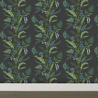 K2 Fern & flowers Green Floral Smooth Wallpaper