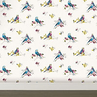 Statement Budgie Blue & grey Floral birds Wallpaper