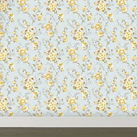 K2 Lucy Duck egg & yellow Floral Smooth Wallpaper