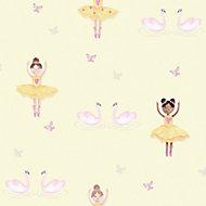 Holden Décor Yellow Dancers Glitter effect Smooth Wallpaper