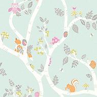 Holden Décor Teal Animals Glitter effect Smooth Wallpaper