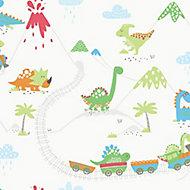 Holden Décor Multicolour Dinosaur Smooth Wallpaper