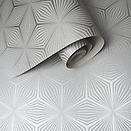 Holden Décor Statement Grey Geometric Metallic effect Smooth Wallpaper