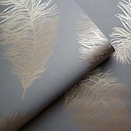 Holden Décor Statement Grey Feather Metallic effect Smooth Wallpaper