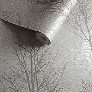 Opus Grey Tree Metallic effect Textured Wallpaper