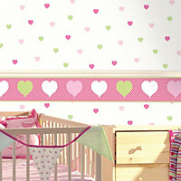 Holden décor Green & pink Hearts Smooth Wallpaper