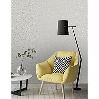 Holden Décor Statement Veneziana Grey Metallic effect Smooth Wallpaper