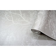 Holden Olea Grey Floral Glitter effect Wallpaper
