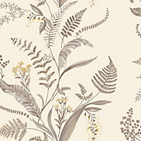Statement Canna Grey & yellow Floral Wallpaper