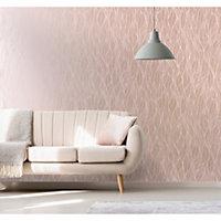 Statement Mora Pink Leaf Metallic effect Wallpaper