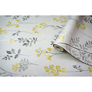 Statement Farley Grey & yellow Floral Wallpaper