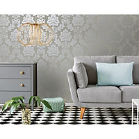 Holden Décor Paulo Taupe Damask Metallic effect Smooth Wallpaper