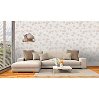 Statement Haruna Grey Floral Metallic effect Wallpaper