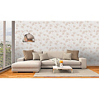 Holden Décor Statement Haruna Grey Floral Metallic effect Smooth Wallpaper