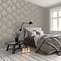 Holden Décor Statement Ambleside Taupe Tree Mica effect Embossed Wallpaper
