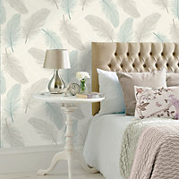 K2 Cream & teal Maisey Textured Wallpaper