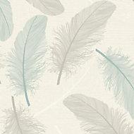 K2 Cream & teal Maisey Textured Wallpaper