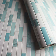Holden Décor Teal & white Tile Metallic effect Blown Wallpaper