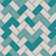 Holden Décor Teal & white Tile effect Blown Wallpaper