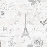 Holden Décor Grey Calligraphy Wallpaper