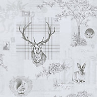 Holden Décor K2 Grey Animals Smooth Wallpaper